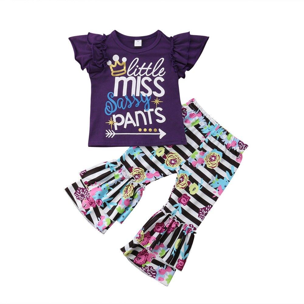 Детская летняя одежда для маленьких девочек, жилет с рюшами, топ + штаны в цветочек, в полоску, с расклешенными штанами, комплект одежды из 2 предметов