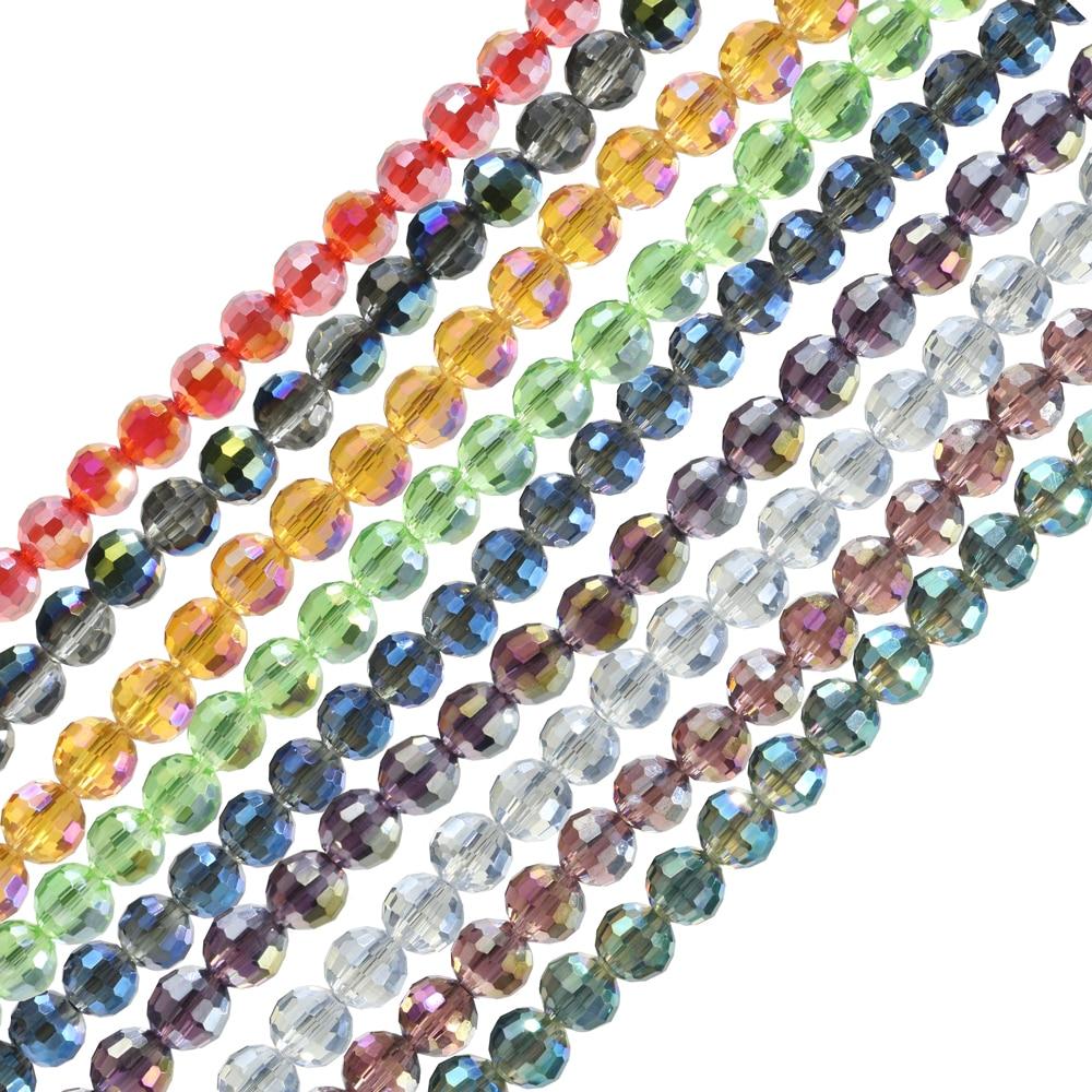 ZHUBI-Bola redonda de vidrio checo, cuentas chapadas en cristal facetadas de 8/10MM,...