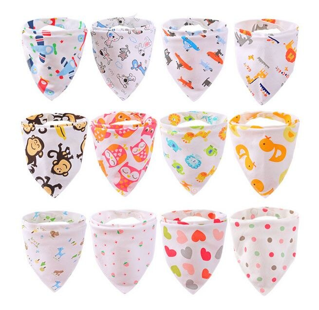 Newborn Cartoon Colorful Baby Boy Girl Bibs Infant Soft Cotton Toddler Animal Burp Cloths Clothes Waterproof Saliva Scarf Towel