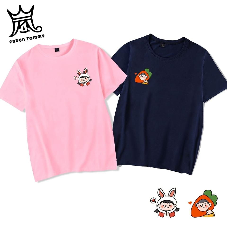 Frdun Tommy conejo zanahorias amantes camisetas pareja verano mujeres hombres manga corta Casual divertida camiseta de dibujos animados Homme amantes camiseta