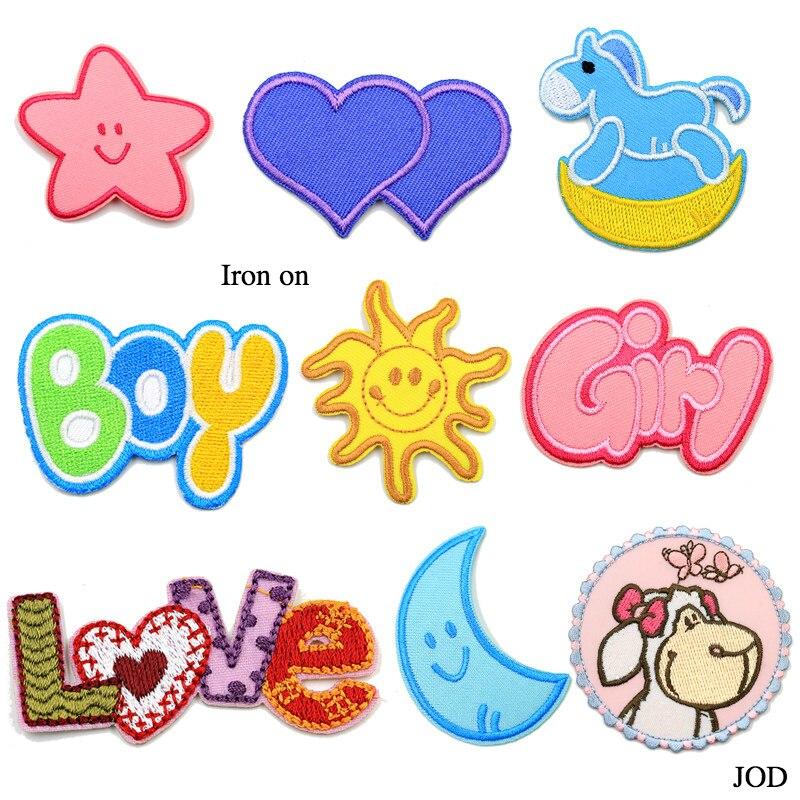 Jod menino, menina, sol, coração, estrela, amor, mon remendo bordado ferro na marca remendo artesanato reparação de costura desenhos animados adesivos decorativos decalque