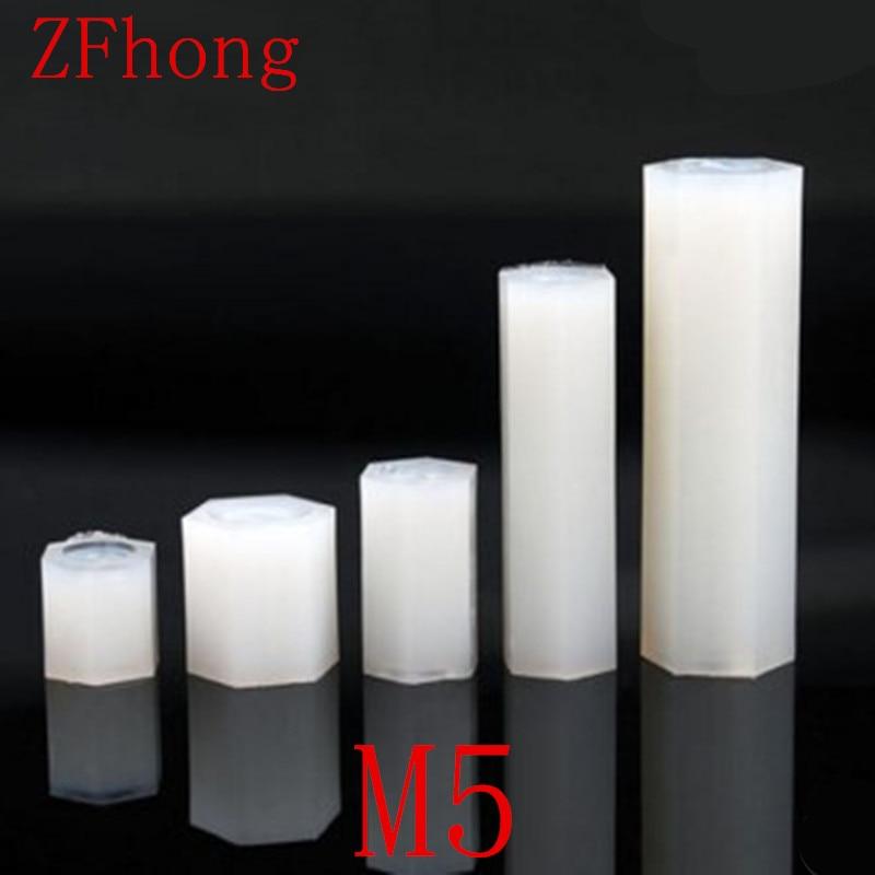 100 pçs/lote m5 nylon hex espaçador M5 * 10/15/20/25/3/35/40/45/50 Rosca Fêmea para Fêmea Branca Nylon Impasse
