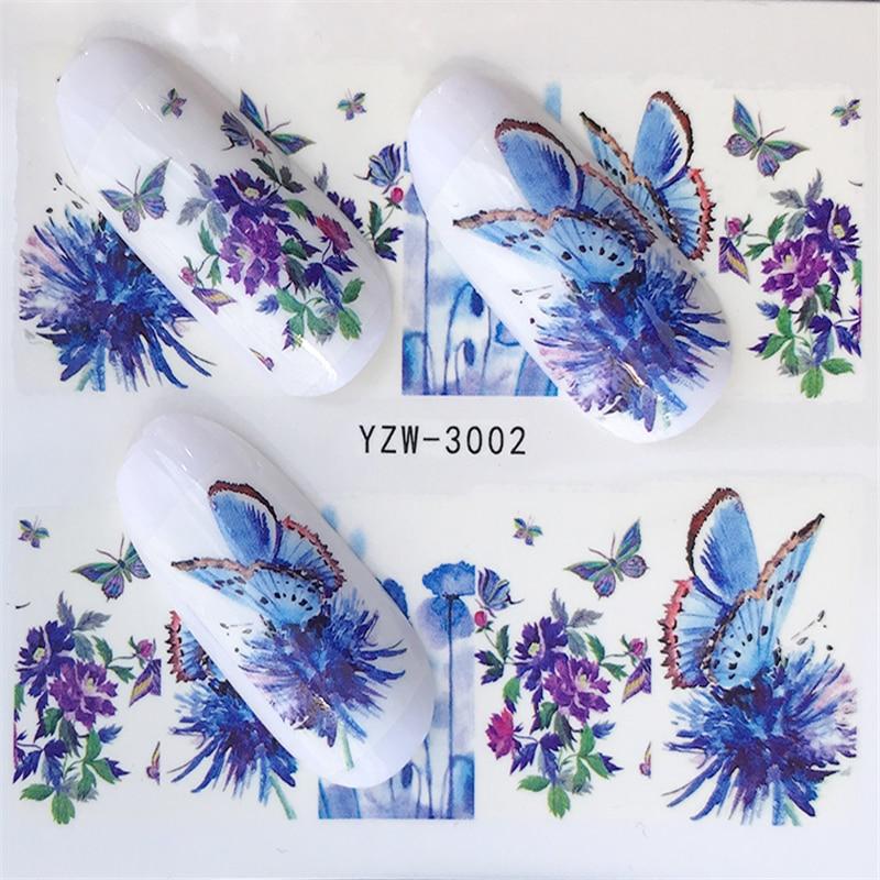 YZWLE, 1 hoja de pegatina para uñas, mariposa, transferencia al agua colorida para verano, decoraciones para uñas, Gel UV, pegatinas de esmalte DIY