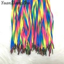1 paire lacets colorés arc-en-ciel dégradé impression toile plate chaussure dentelle chaussures décontracté couleur chromatique lacets 80CM/100CM/120CM BC-1