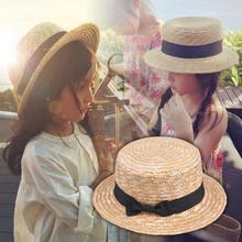 Chapeau de paille à nœud pour filles   Mignon, chapeau de soleil pour enfants, chapeau de plage dété à Large bord, chapeau fedora rond et plat 54CM