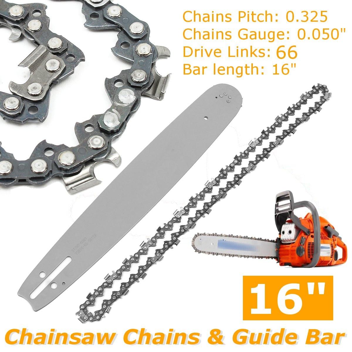 2Pcs 16 inch Guide Bar + Chainsaw Chains Semi Chisel Chain For Husqvarna 36 41 50 51 55  346XP 450 455 460 POULAN 66DL
