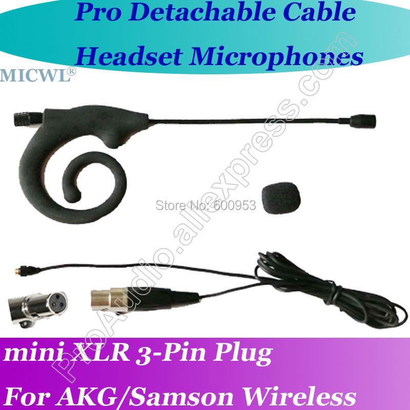 Novo micwl mini 3pin microfone com fone de ouvido cabo destacável para akg samson gemini sem fio