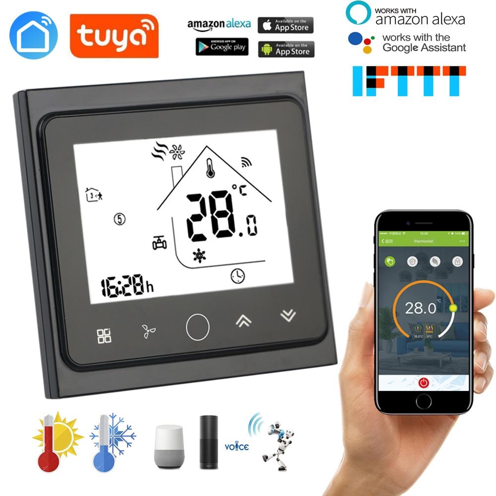 ترموستات مكيف هواء مركزي واي فاي قابل للبرمجة ، متحكم في درجة الحرارة ، 2 أنبوب ، 4 أنابيب ، وحدة ملف مروحة تعمل مع Alexa Google