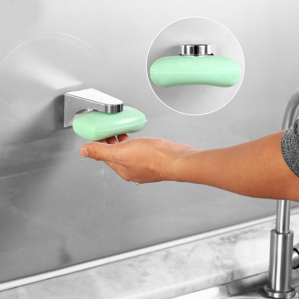 OUNONA 1PC מגנטי סבון מחזיק Elegent כלי משלוח חלד ספוג מחזיק צלחת בעל סבון צלחת עבור שירותים רחצה בית