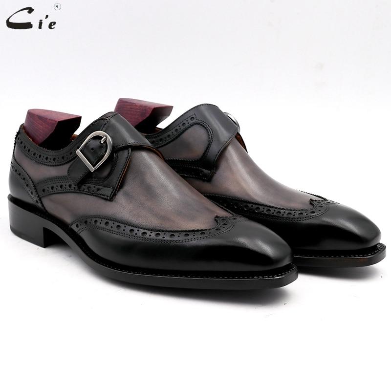Cie-حذاء بمقدمة مربعة مع حزام راهب مزدوج للرجال ، مطلي يدويًا ، بإبزيم من جلد العجل ، ناعم ، مسامي ، MS03