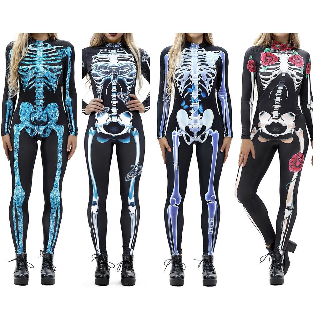 Frauen Vintage Skeleton Rose Drucken Scary Kostüm Schwarz Dünne Overall Body Halloween Cosplay Anzug Stretchy Outfit Femme COS