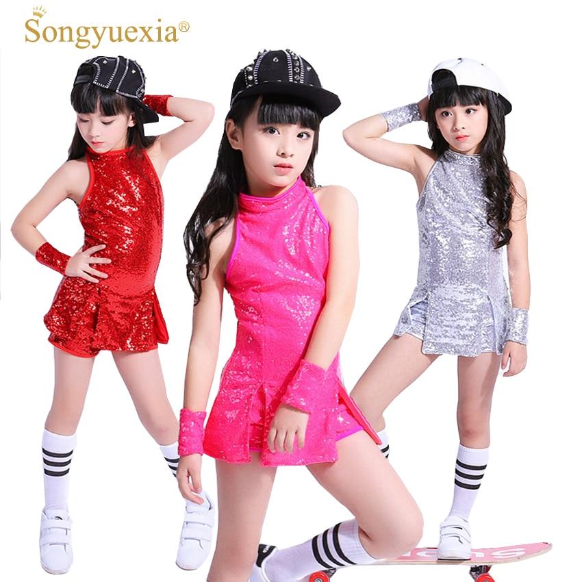 SONGYUEXIA, ropa de baile para niños, traje de baile de Jazz de chico Hip-hop, Paillette, ropa para danza moderna, disfraces de porristas para chicas