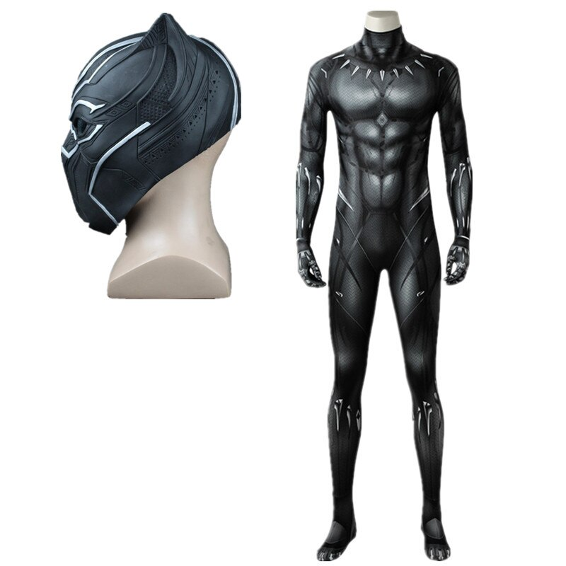 Movie Captain America Civil War Black Panther Cosplay Costume  Adult Men  Superhero Halloween Costume Custom