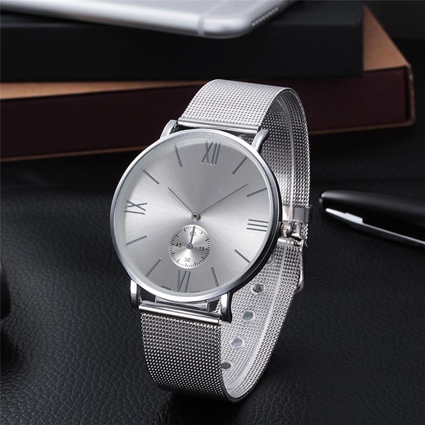 2016 Casual Silver Women Watch Crystal Stainless Steel Buckle Roman Numbers Analog Quartz Lady Wrist Watch Bracelet Watch #11