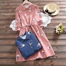 Japonais mignon mode coton lin rose robe 2020 femmes Mori fille Vintage robe de grande taille Kawaii cerf imprimer robes de pansement