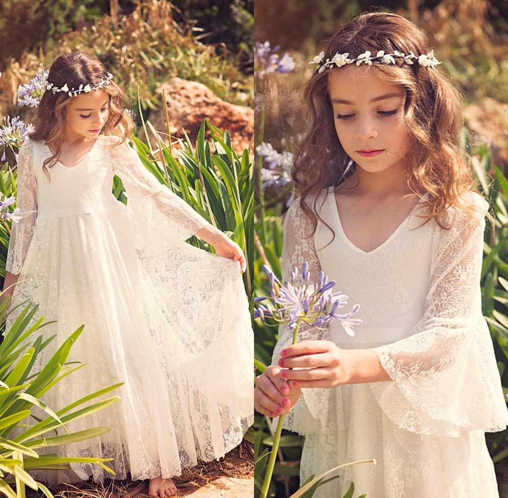 elegant flower girl dress for wedding kids sleeveless lace tulle pageant ball gowns long princess dresses girls party dresses Princess Girls Pageant Dresses Lace Flower Girl Dresses Long Sleeves Kids First Communion Dresses Girls Maxi Dress Party Gowns