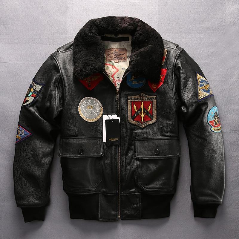 Куртка мужская, из натуральной воловьей кожи, с меховым воротником, большие размеры