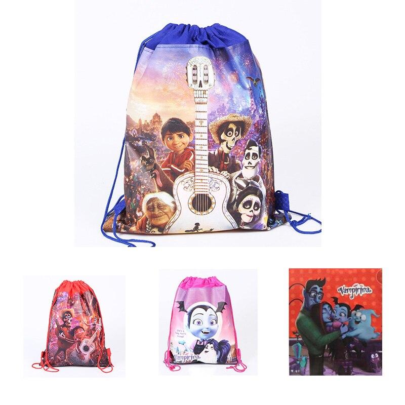 Mochila de dibujos animados con cordón de Anime de la película COCO Miguel Hector Vampirina, figura de acción de juguete para niños y niñas, mochila de regalo de Navidad