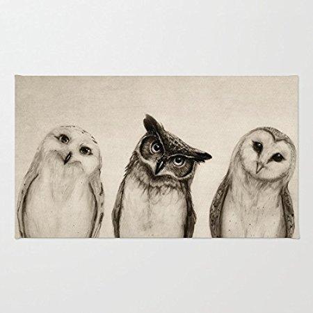 """Tapete a la moda, tres búhos bonitos para interior/exterior/Felpudo de bienvenida frontal (23,6 """"x 15,7"""",L x W)"""
