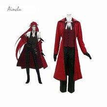 Ainclu envío gratis negro Butler Kuroshitsuji guadaña de la muerte Grell Sutcliff adulto Cosplay traje