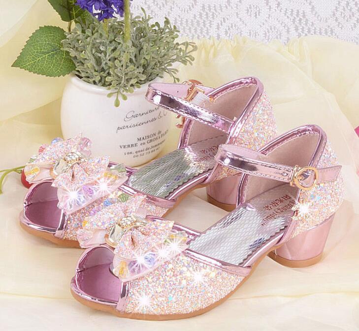 Nuevas sandalias de princesa de verano para niñas, zapatos para niños, zapatos de boda para niñas, zapatos de tacón alto, zapatos de cuero estilo coreano 4 -12