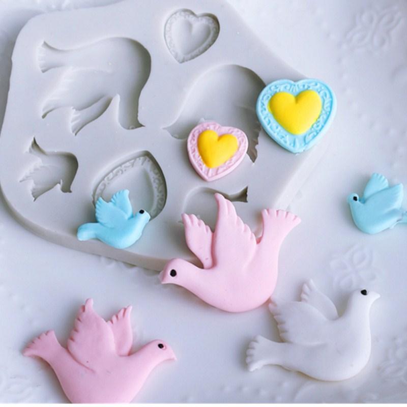 Pombo pássaro forma molde de silicone fondant chocolate molde macio argila argila ferramenta j099/j100