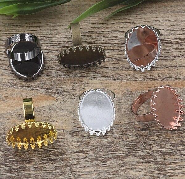 40 Uds 13mm * 18mm, 18mm * 25mm cabujón bandeja con forma de corona anillo en blanco camafeo bandeja, bronce/oro/plata/Negro anillo ajuste, DIY joyería encontrar