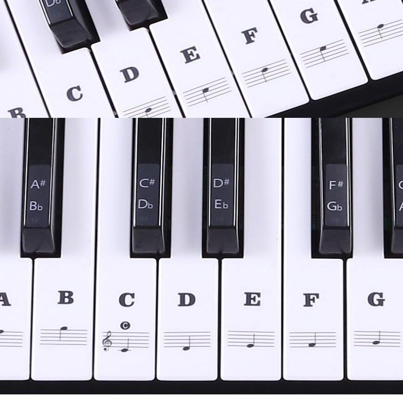 Pegatina de piano transparente para teclado, 54/61 teclas, pegatina de Piano Electrónico, 88 teclas, pegatina de piano, etiqueta de tecla blanca