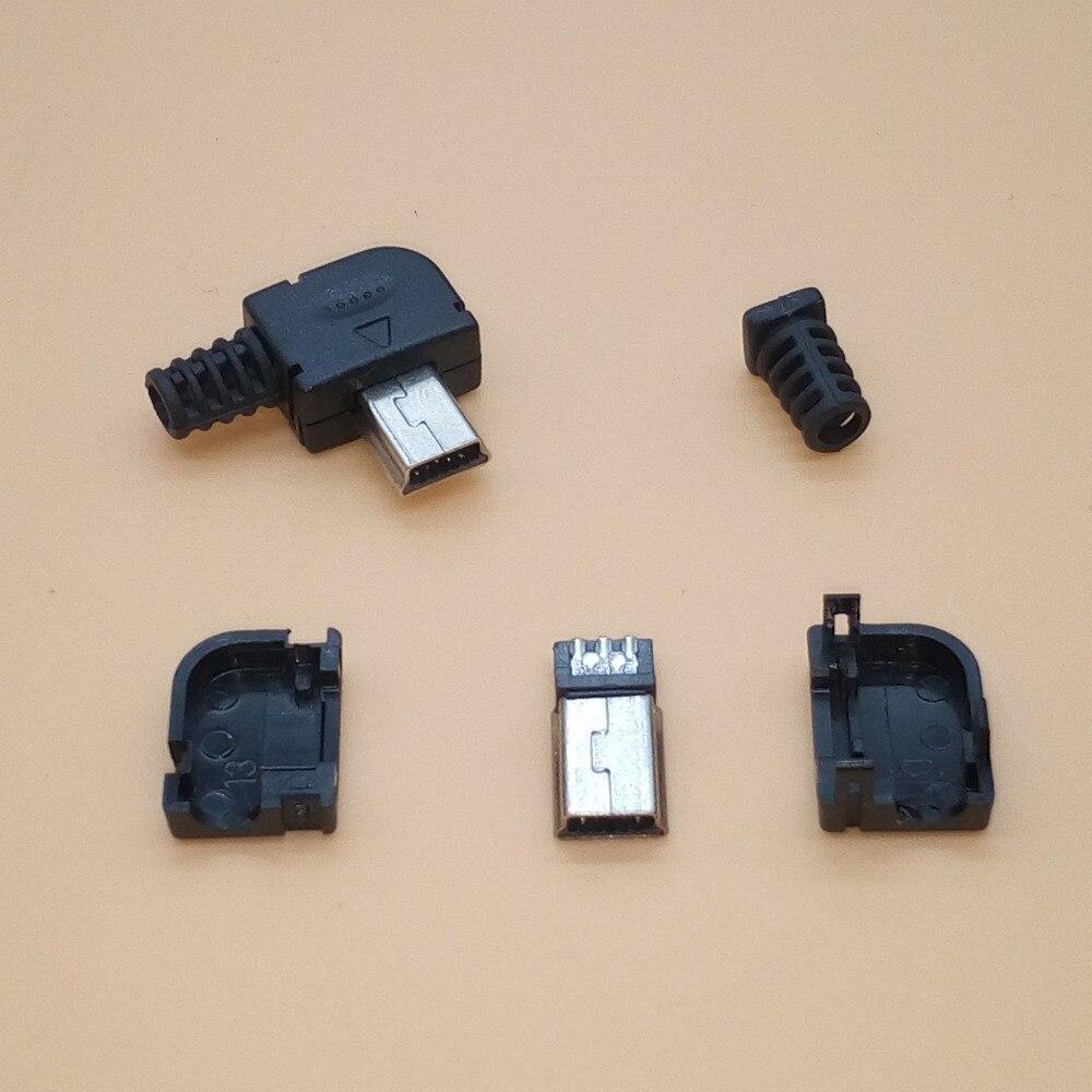 10 Mini USB tipo B 5Pin tipo de soldadura conector macho de 4 en 1 90 grados adaptador de conector