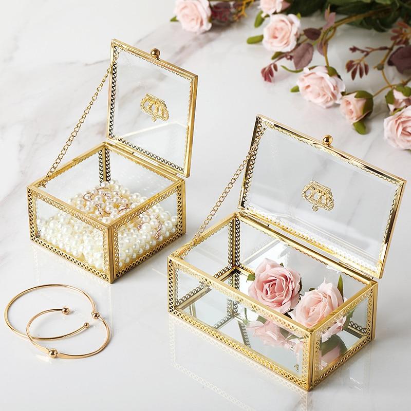 Light Luxury Gold Retro Crown Phnom Penh Small Flip Jewelry Box Dust-Proof Finishing Box Cosmetic Storage Box