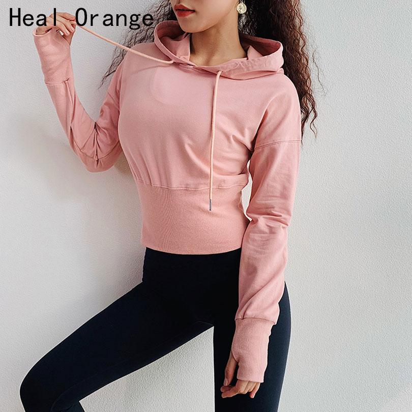 Heal naranja chaqueta de correr con capucha mujer ropa deportiva chaqueta mujer suéter de manga larga Mujer Yoga Running Fitness chaqueta