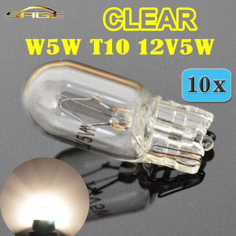 Бегемот T10 W5W 501 194 прозрачная сигнальная лампа Белое стекло 12V 5W W2.1x9.5d Одиночная лампа накаливания автомобильная лампа (10 шт)