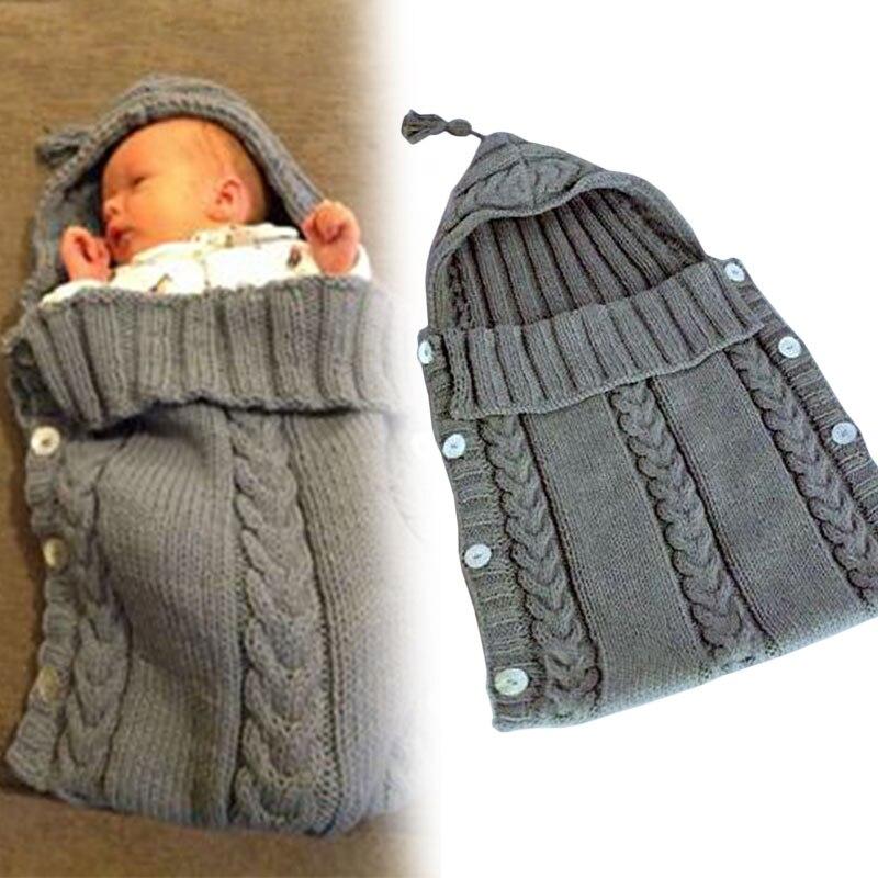 Baby Hooded Sleeping Bag Crochet Swaddling Blanket Comfortable Baby Care