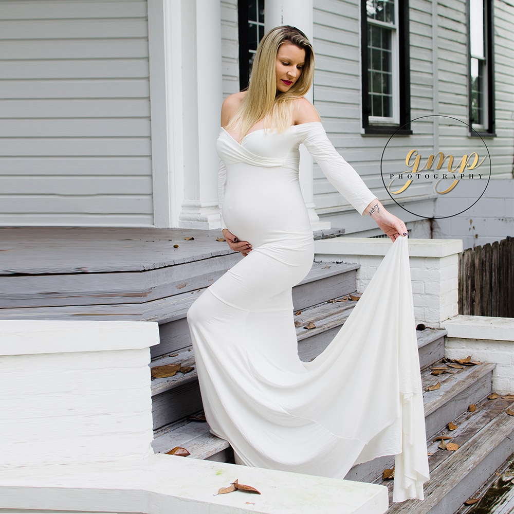 Maxi Long Maternity Gown Cotton Maternity Dress Pregnant Dress Maternity Photography Props Baby Shower Dress Photo Shooting enlarge