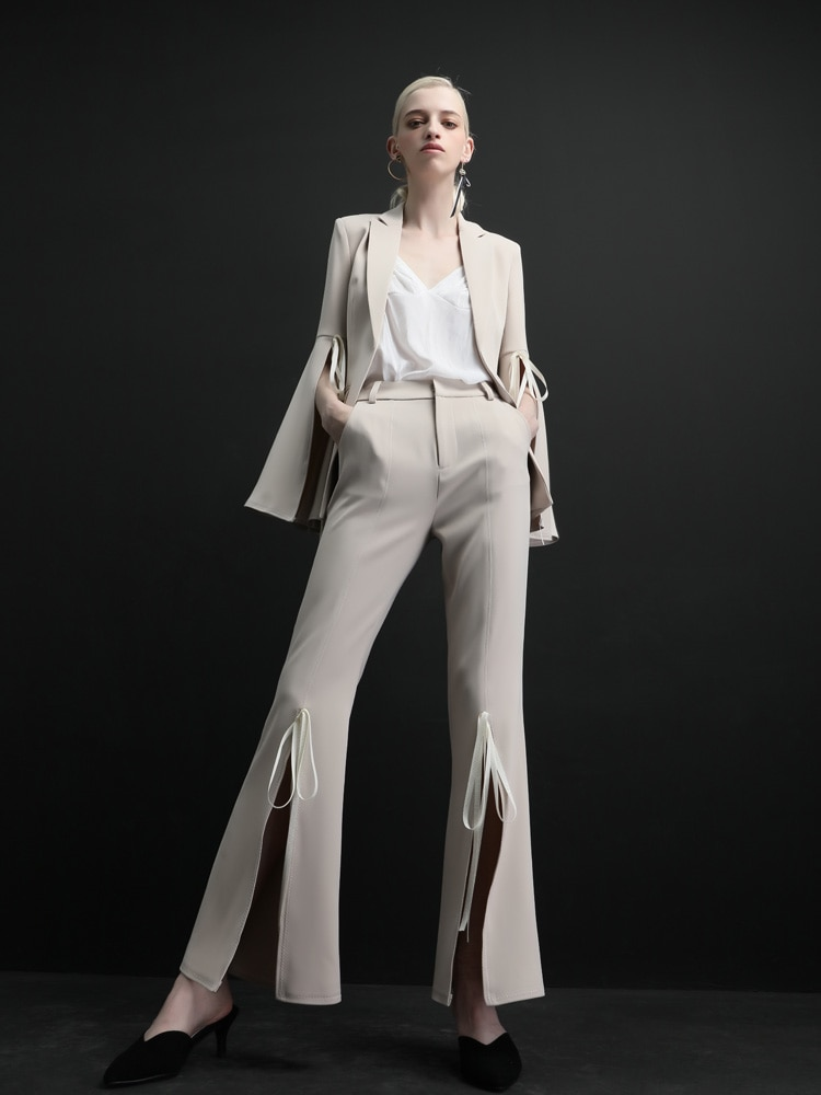 High quality women suits pants suit Commuting fashion Women 2 Pieces Business Suits red Irregular Sleeve trouser