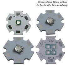 1 pièces 3535 5050 365nm 395nm 420nm 3 w 10 w 12 w UV LED ultra-violet haute puissance 20mm pcb pour imprimante à plat UV, lampe de durcissement