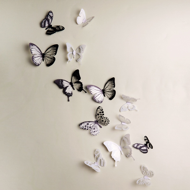 Купить с кэшбэком 18pcs Black white 3d Crystal Butterfly Wall Sticker wedding decoration Butterflies Art Decals living room bedroom decor Stickers