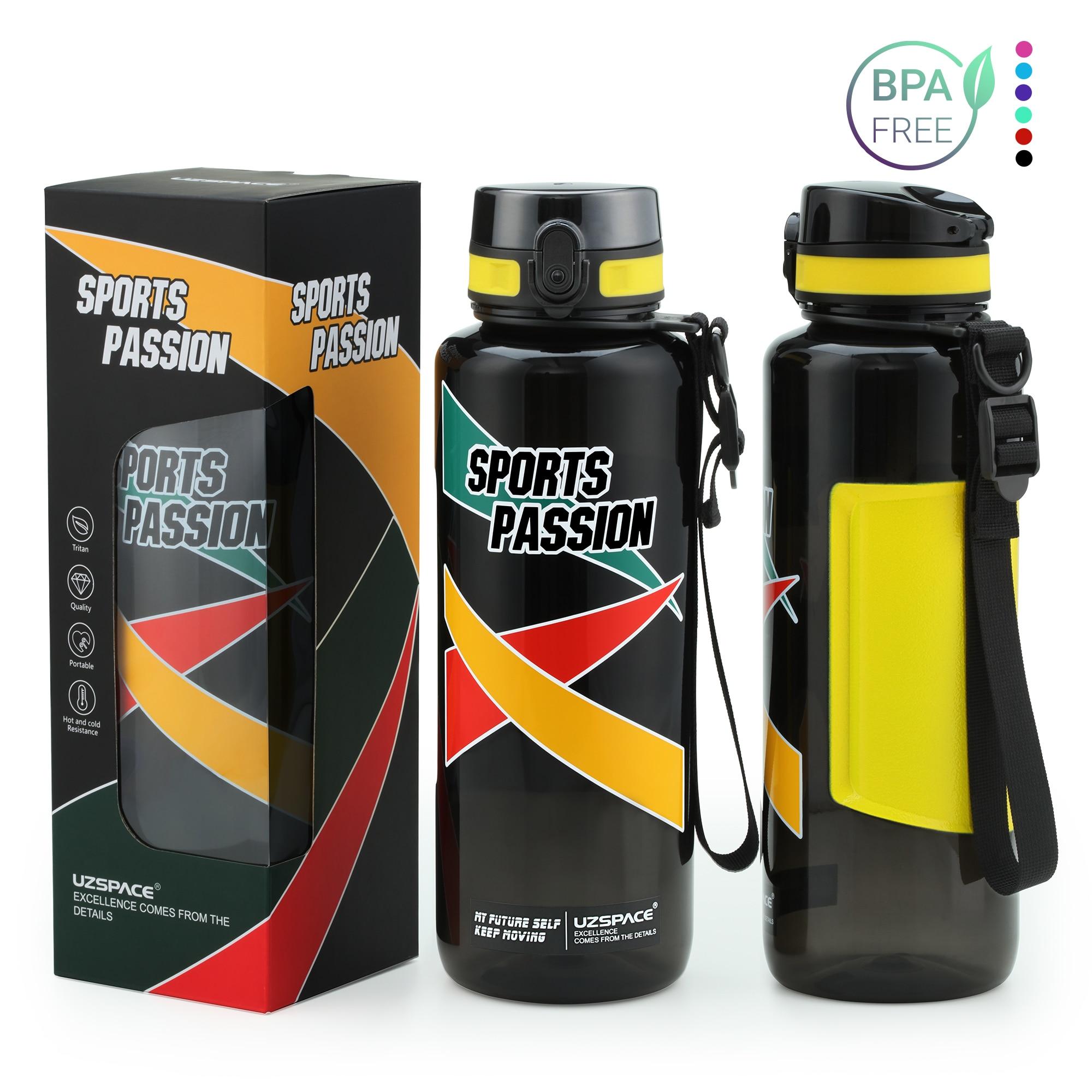 Uzspace esporte garrafas de água grande capacidade masculino portátil criativo tendência chaleira ao ar livre fitness espaço garrafa plástico bpa livre