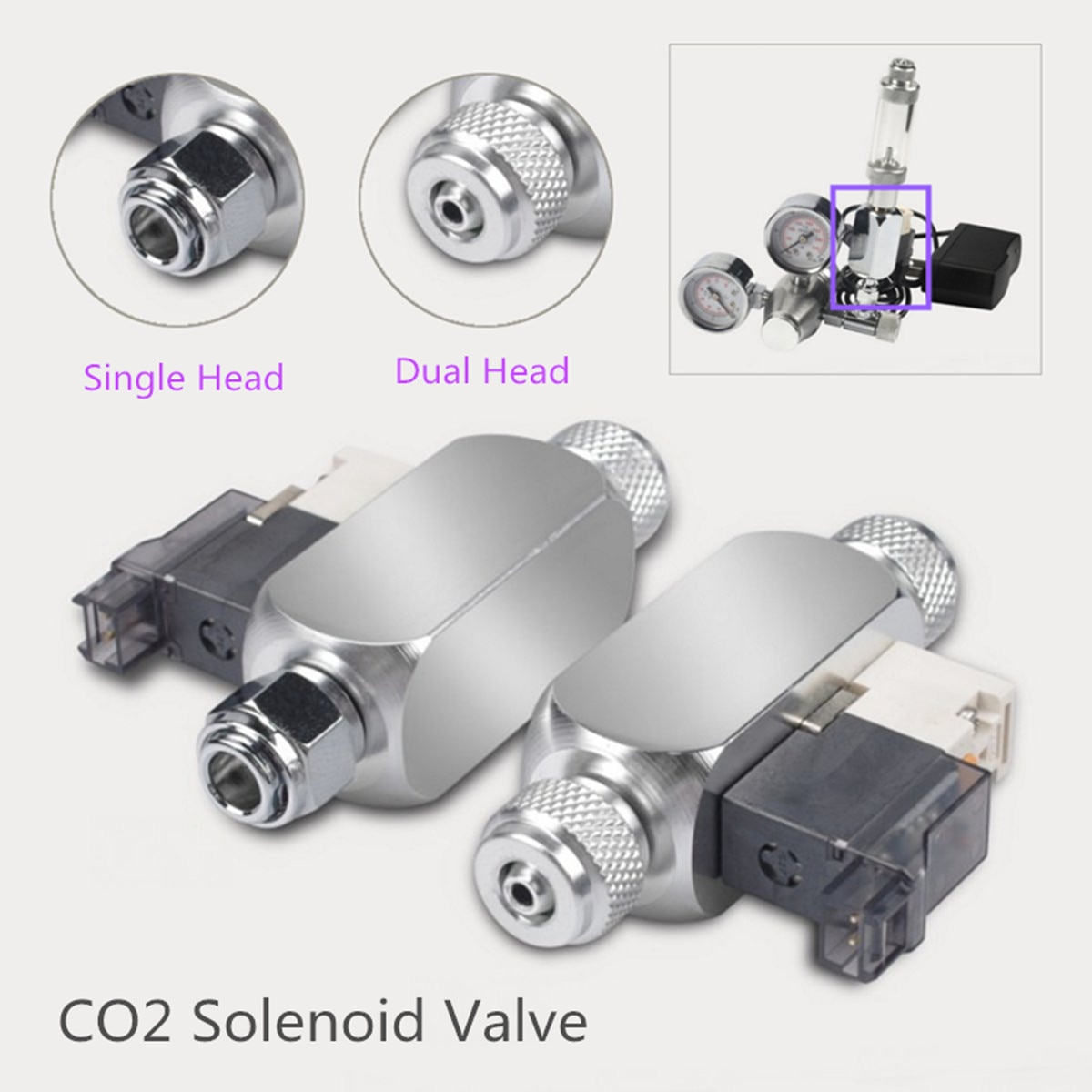 Magnetic CO2 Aquarium Solenoid Single Dual Head Valve Low Temp Regulator Cylinder Pressure Relief CO2 Equipments Supplies Tools