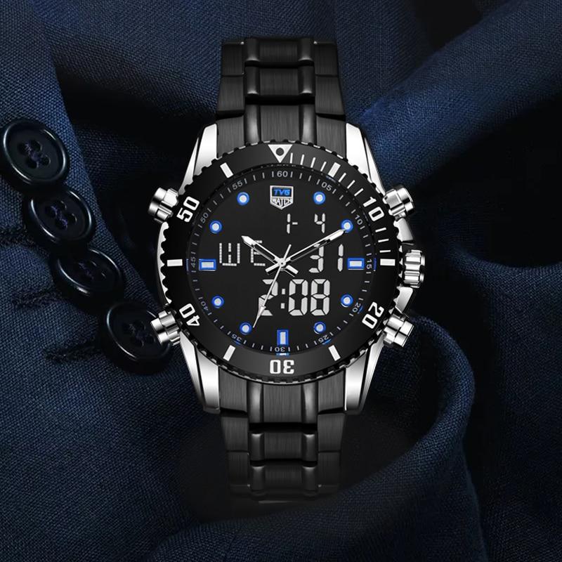 2020 Fashion Watch Men Watches Top Brand TVG Dual Display Quartz Watches Stainless Steel Fashion 100