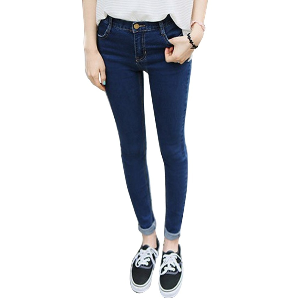 Women Girls High Waist Denim Jeans Trousers Slim Skinny Pencil Pants plus size XS-XXXL Hot