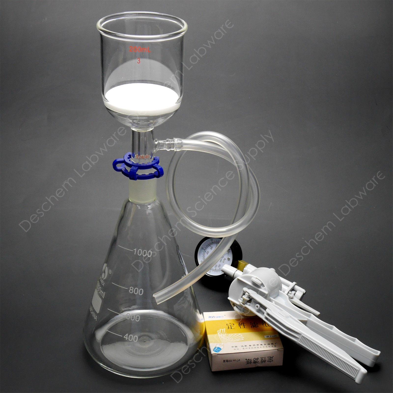 1000 ml, aparato de succión de laboratorio, embudo de 200 ml, matraz de 1 l, con bomba de vacío y filtro de papel
