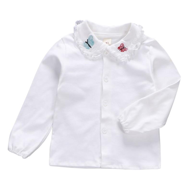 Recién Nacido bebé niñas de algodón de manga larga Tops camisas ropa Tops lisos Rosas y blancos camisa 0-36M bebé