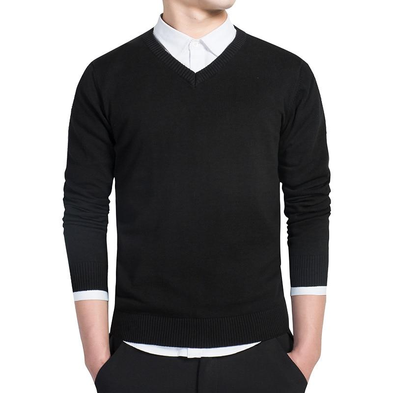 Nuevo jersey de primavera para hombre, jersey tejido de algodón con cuello en V, jerséis, jerséis ajustados para hombre, prendas de punto de color rojo vino y Negro M-4XL