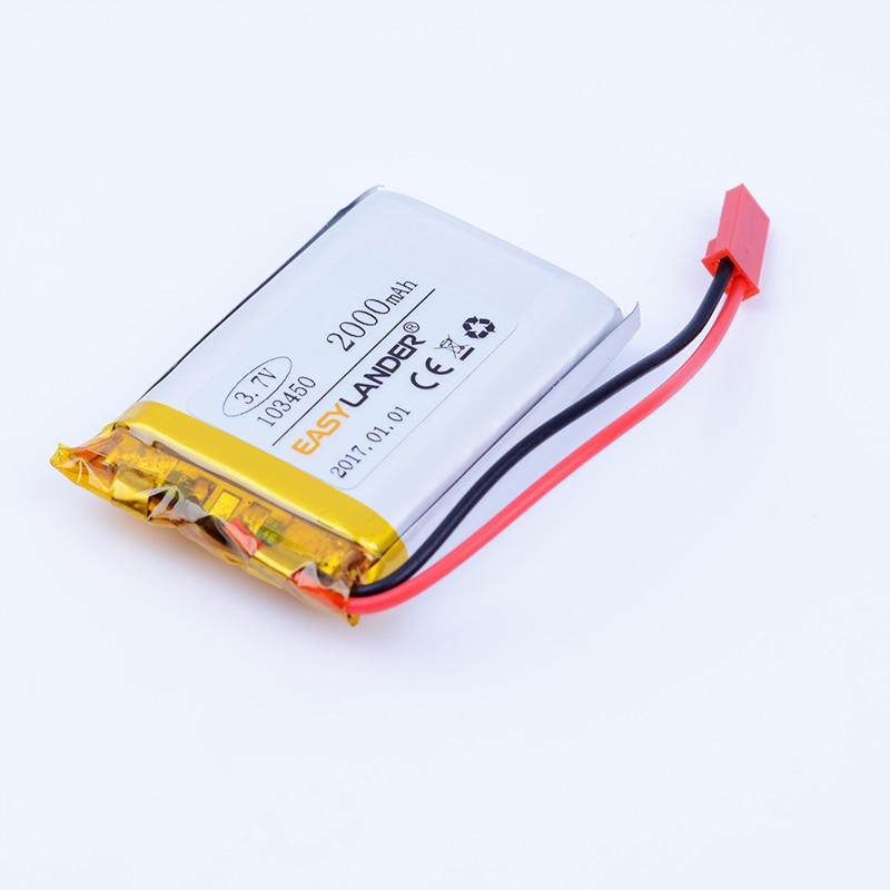Conector JST 3,7 V 2000mAh batería recargable li-polímero Li-ion para GPS MP3 mp4 altavoz PAD Power toyS plug 103450