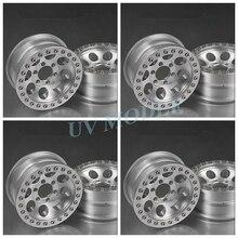 4 Pcs/lot Silver Alloy 1/10 RC Crawler 1.9 Beadlock Wheels  for SCX10 D90 90034 90035 Aluminum Rim Free Shipping