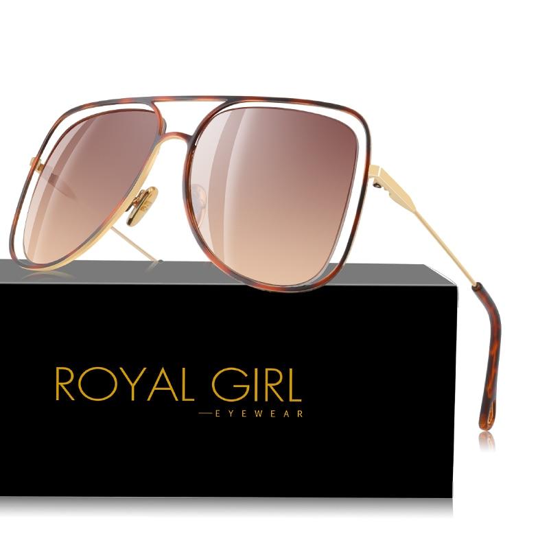 ROYAL GIRL Oversize Square Sunglasses Women 2020 Brand Designer Hollow Sun Glasses Female Unisex Metal Hollow Oculos UV400 ss079