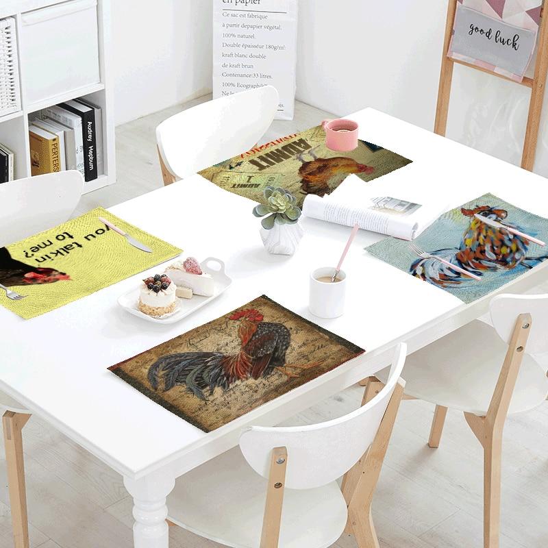 42*32 см, геометрические узоры, петух, салфетки, хлопок и лен, винтажный стол, домашний декор, креативная настольная салфетка, свадебная салфет...