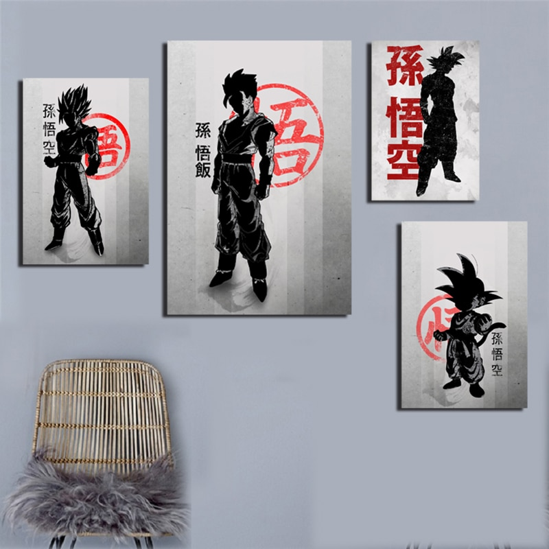 Dragonball Z Goku Limite de Fumaça E Fogo Cartaz da Pintura Clássica Da Arte Da Lona Preto Branco do Retrato Da Parede Decoração Home Moderna