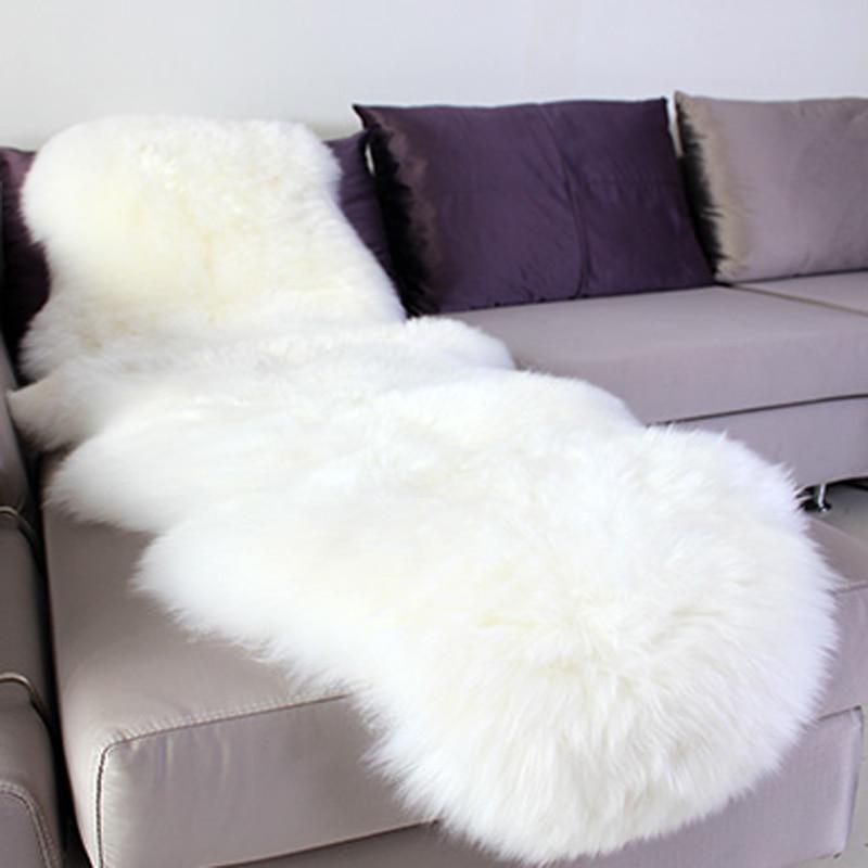 سجادة غرفة نوم من جلد الغنم الصناعي ، غطاء كرسي ، 65 × 180 سنتيمتر ، فرو صناعي ، عيد الميلاد